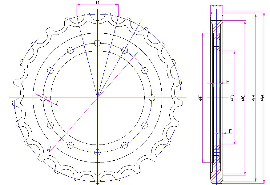 PC60 excavator sprocket